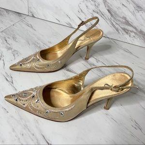 Nina Satin Embellished Point Toe Heel SZ 7